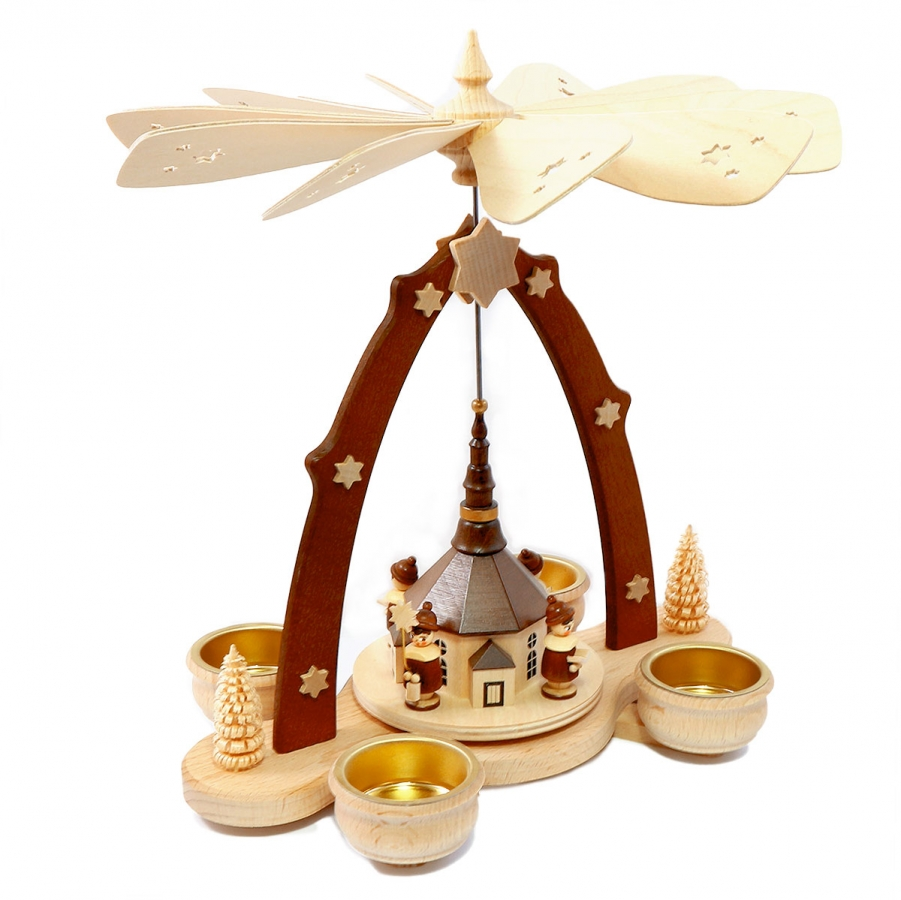 Teelichtpyramide mit Seiffener Kirche