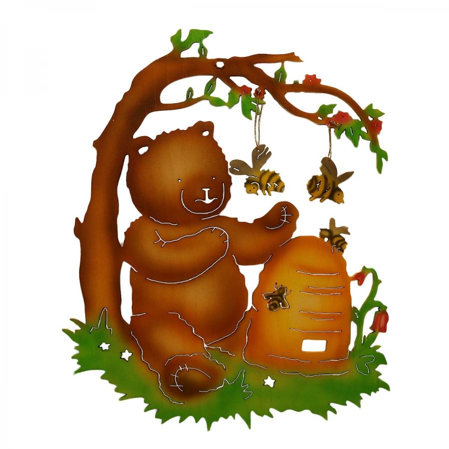 Fensterbild Honigbär - farbig