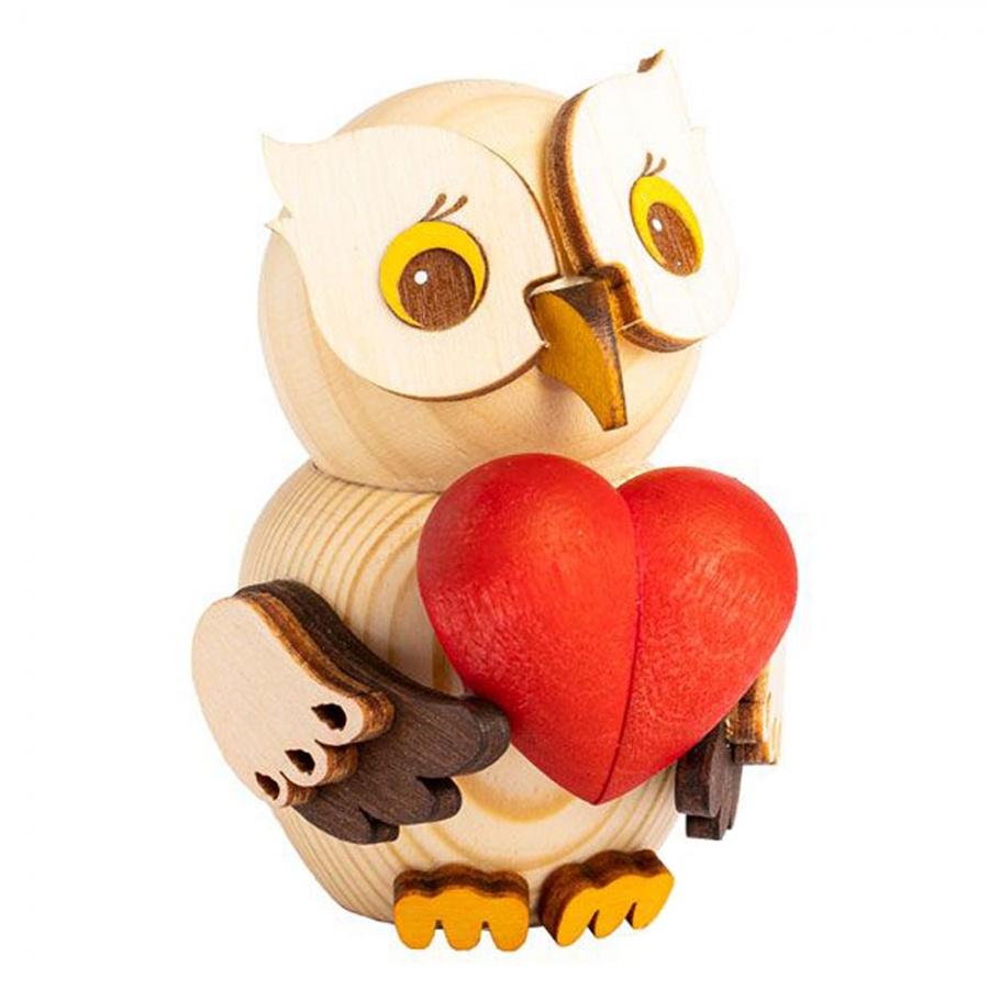 Holzfigur Mini-Eule mit Herz