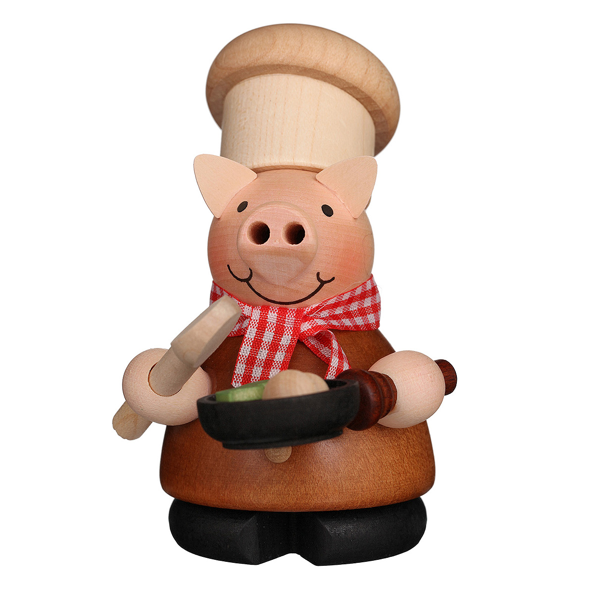 Räuchermann Glücksschweinchen Koch natur