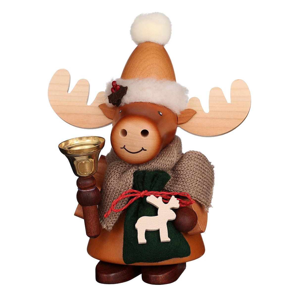 Räuchermann Elch Weihnachtsmann natur