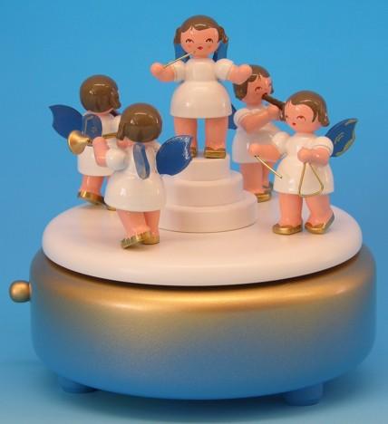 Spieldose blau/weiß/gold mit 5 Engel