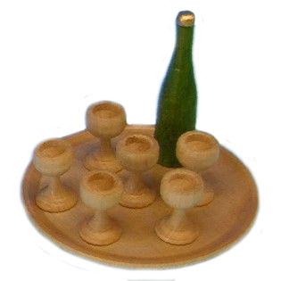 Weinservice, rund, grün/farblos