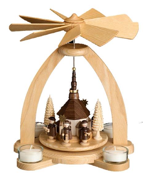 Teelichtpyramide Seiffener Kirche